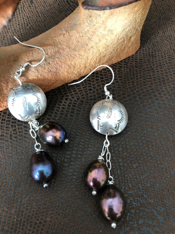 Handmade, Sterling Silver, Plum Pearls, Dangle Earrings, Southwestern, Boho, Earrings