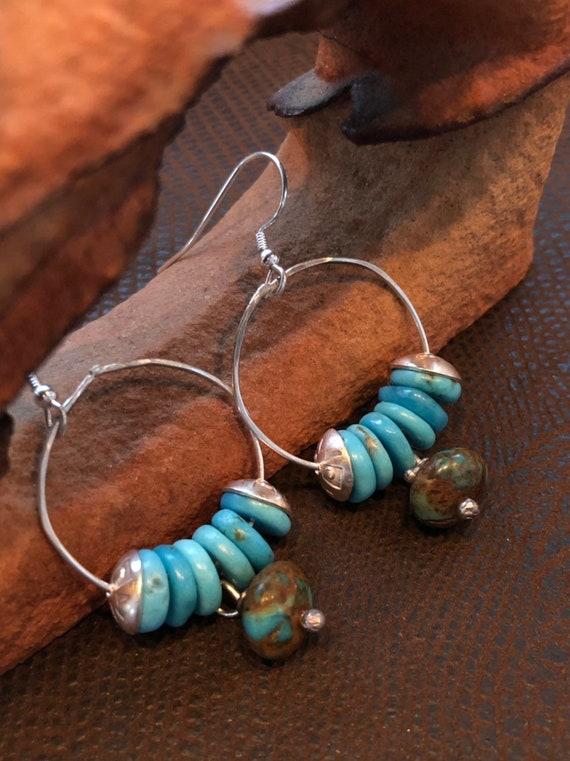 Handmade Jewelry, Kingman Turquoise, Sterling Silver, Hoop Earrings, minimalist, Southwestern, Boho, Turquoise Earrings