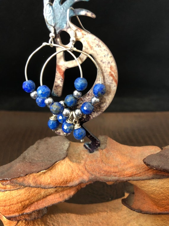 Handmade, Sterling Silver, Blue Lapis, Hoop Earrings, Southwestern, Boho, One of a Kind