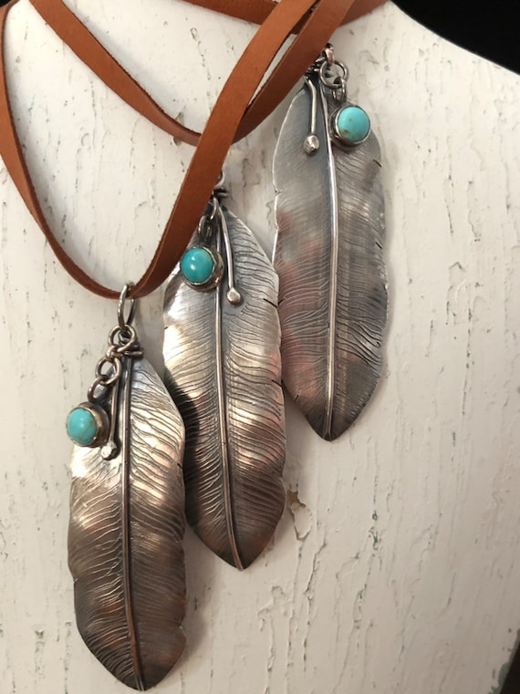 Handmade Jewelry, Sterling Silver Feather Pendant, Southwestern Jewelry, Boho Chic, Feather Necklace, Kingman Turquoise