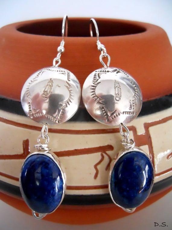 Handmade, Southwestern, Sterling Silver, Handstamped, Metalwork, Cobalt Blue, Arizona Shattuckite, Feather, Dangle Earrings