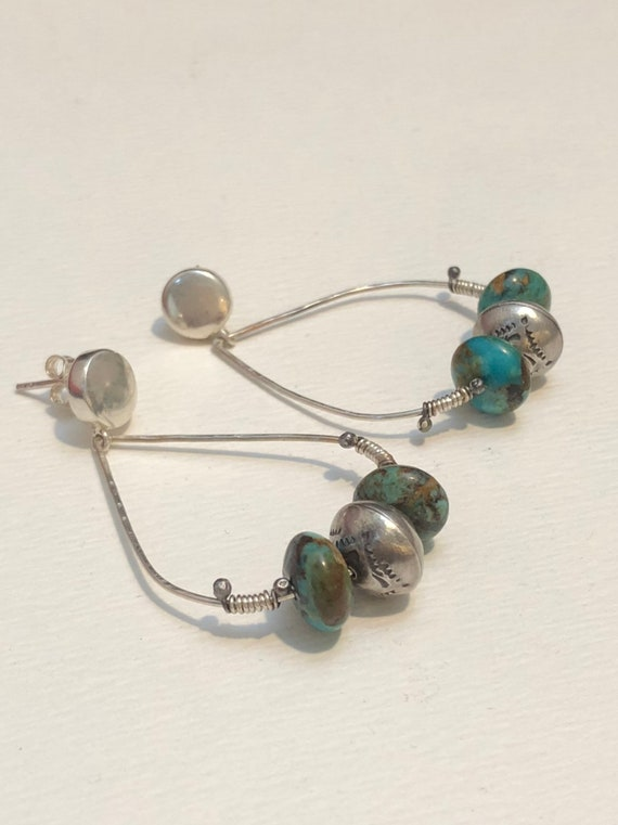 Handmade Jewelry, Kingman Turquoise, Navajo Pearls, Hoop Earrings, minimalist, Tear Drop earrings
