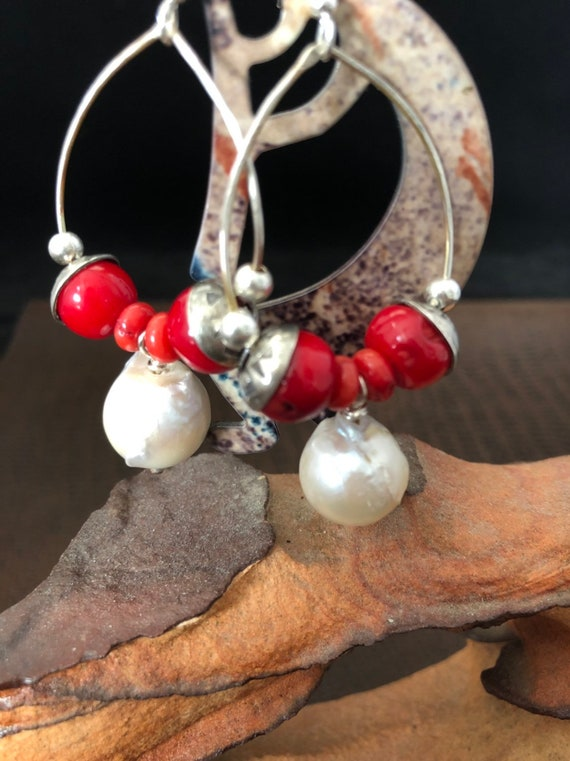Handmade Jewelry, Red Coral, Baroque Pearls, Sterling Silver, Hoop Earrings, minimalist, Dangle earrings, Southwestern, Boho
