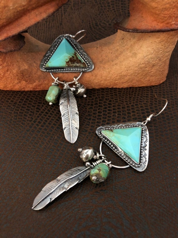 Handmade Jewelry, Turquoise Earrings, Southwestern Jewelry, Baja Turquoise, Light Blue Green Turquoise, Feather Earrings , One of a Kind