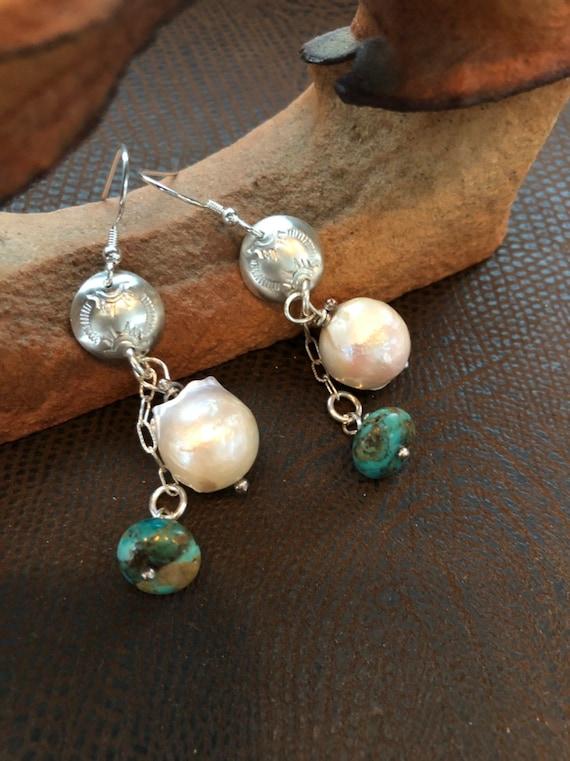 Handmade Earrings, Baroque Pearls, Kingman Turquoise Beads, Dangle Earrings, Sterling Silver, Southwestern Jewelry