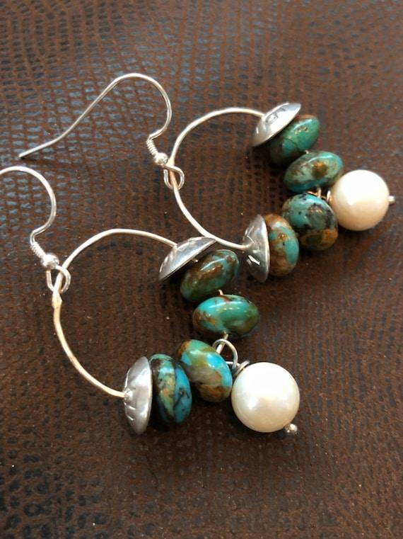 Handmade Jewelry, Kingman Turquoise, Freshwater Pearls, Sterling Silver, Hoop Earrings, minimalist, Dangle earrings, Southwestern, Boho