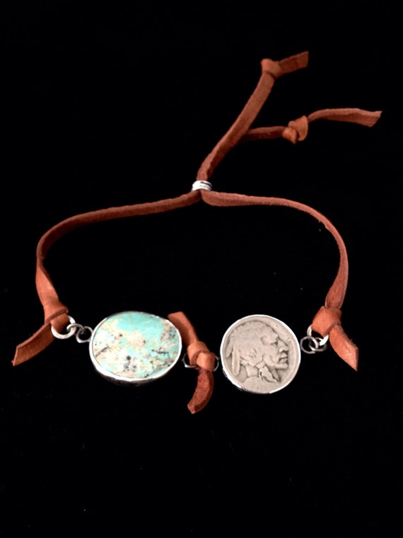 Handmade Jewelry, Southwestern, One of a Kind, Cumpas Mine Turquoise, Vintage Indian Head Nickel, Saddle Leather Slide Bracelet