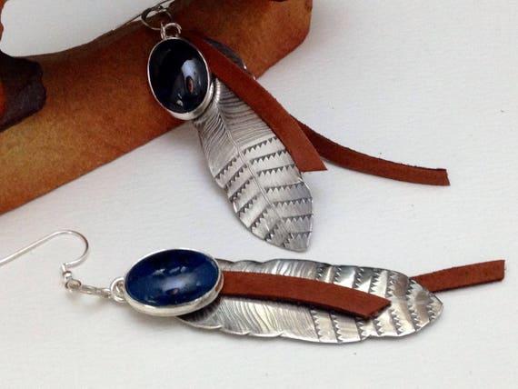 Handmade, Southwestern, Boho, Sterling Silver Feather Earrings, Blue Shattuckite Earrings