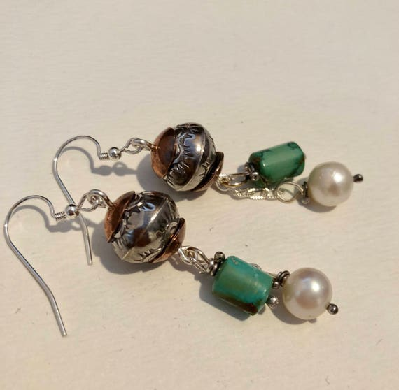 Handmade Earrings, Southwestern Jewelry, Boho, OOAK, Blue Green Turquoise Earrings, Freshwater Pearl, Baroque Pearls, Dangle Earrings