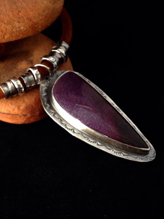 Handmade, One of a Kind, Southwestern, Boho, Purple Sugilite, Sterling Silver, Pendant