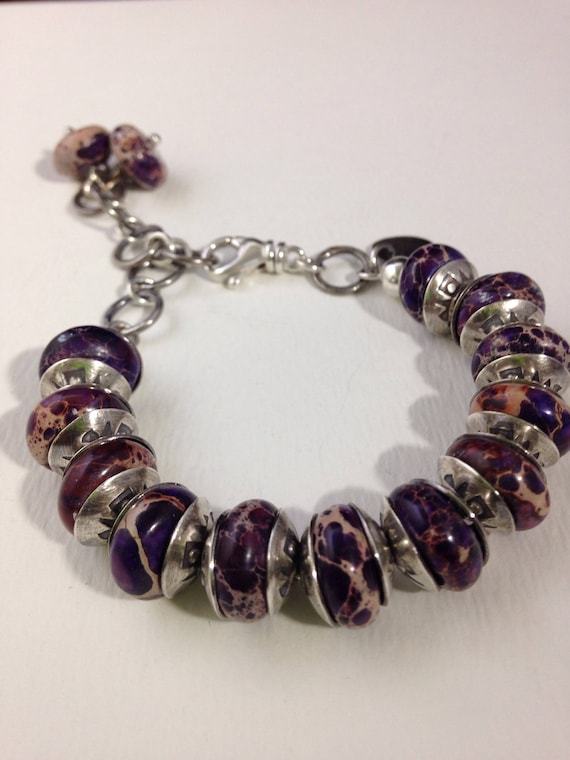 Handmade Jewelry, Purple Snake Jasper, Sterling Silver Handstamped Bead Caps, Beaded Bracelet, Southwestern Jewelry