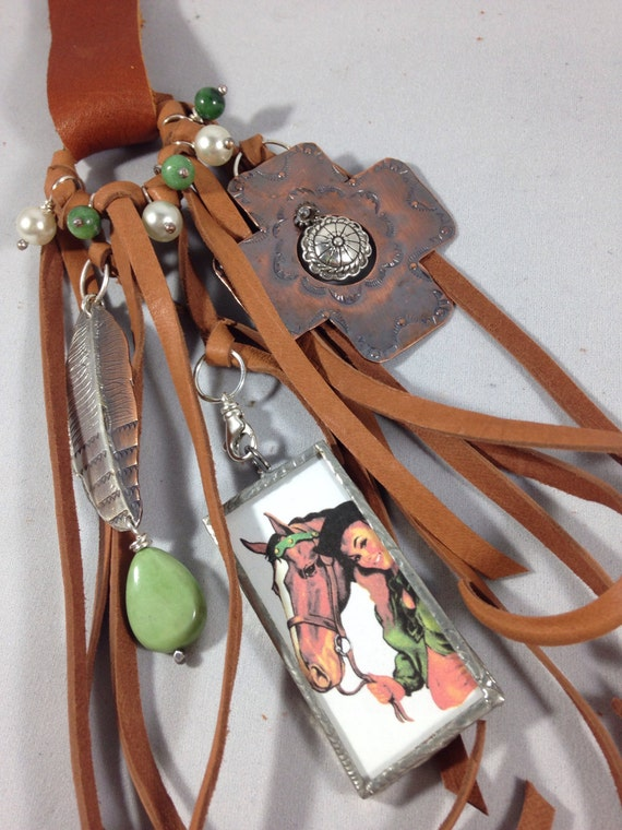 Handmade One of a kind, Southwestern, Cowgirl, Boho, Cross, Feather, Pearl, Horse, Turquoise, Purse Bling,