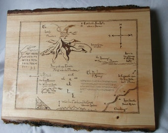 The Hobbit-Thorin's Map Woodburned Plaque