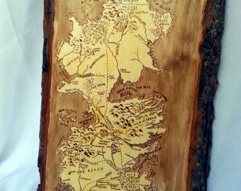 Game of Thrones Westeros Woodburned Map