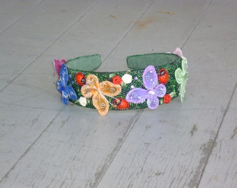 Butterfly Garden headband- bead embroidered OOAK