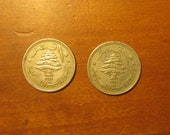 Pair 1961 Lebanon 10 piastres coin s, lebanese, collecting jewelry craft supply supplies, world coins, cedar tree, ship,inv7