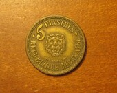 1955 Lebanon 5 piastres coin, lebanese, collecting jewelry craft supply supplies, world coins, cedar tree, lion, inv2