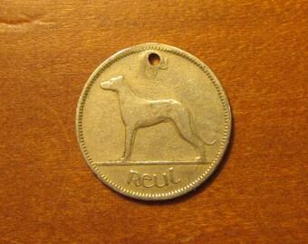 1961 Irish Sixpence Coin Old Ireland Greyhound Dog Celtic Harp Vintage