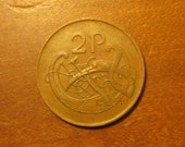 1979 Ireland twopence, Irish world coin, 2 pence, lucky, celtic bird, jewelry, craft, supply, supplies, penny, two cent piece