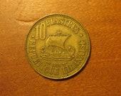 1955 Lebanon 10 piastres coin, lebanese, collecting jewelry craft supply supplies, world coins, cedar tree, ship,inv4