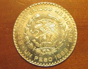 1966 mexico silver 1 peso coin, world mexican coin, collectible craft jewelry supply supplies, dollar