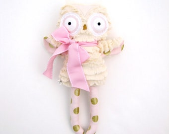 Plush Owl Doll Stuffed Animal Toy Baby Gift Pink Gold Polka Dot