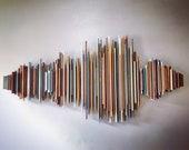 Custom Sound Wave Art, 52 inch Color Wood Soundwave Wall Art, Sound Diffuser, Unique Rustic Decor, Music Studio, Song Wall Sculpture