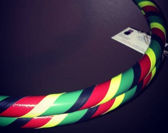 RAstA Collapsible Hula Hoop - GlOwS Under Black Light - For Fitness Exercise Dance - Great for Beginners - Red Yellow Green Black