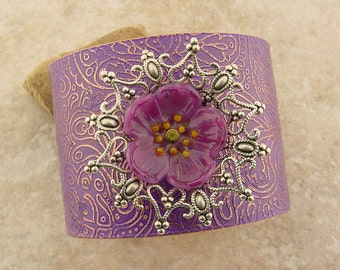 """Embellished and Etched Copper Cuff Bracelet, Orchid Paisley with Glass Plumeria, 2"""""""