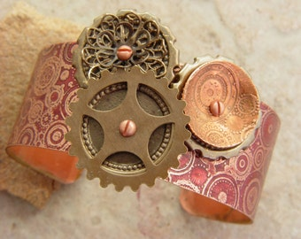 """Embellished and Etched Copper Cuff Bracelet, Burgundy Steampunk and Circles, 1"""""""