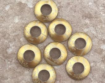 Aluminum Bead Caps, Gold and White Trellis, 1 pair (2 caps), 13mm