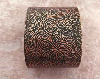 "Handmade Bracelet, Etched Copper Cuff,  Deep Green Doodles Pattern, 2"""