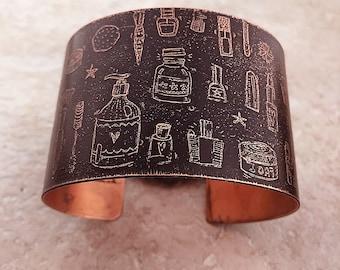 "Etched Copper Bracelet Cuff, Black Cosmetics & Hair Theme, 2"" Wide"