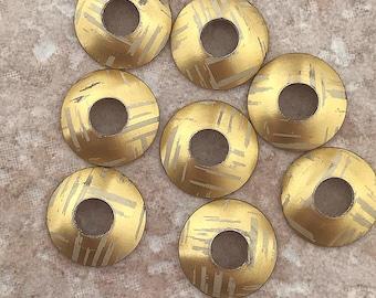 Aluminum Bead Caps, Gold and White Streaks, 1 pair (2 caps), 15mm