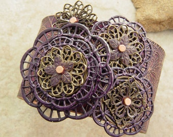 """Embellished and Etched Copper Cuff Bracelet, Plum and Brass Filigree, 1.5"""""""