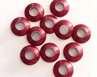 Aluminum Bead Caps, Red, 1 pair (2 caps), 13mm