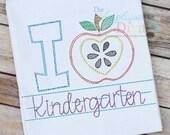 Vintage Stitch Sketch I Love Kindergarten Digital Machine Embroidery Design