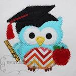 Back To School Bookworm Owl Embroidery Design Machine Applique