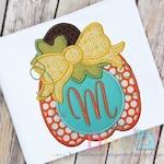 Fall Pumpkin with Big Bow  Digital Embroidery Design Machine Applique