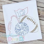 Vintage Stitch Sketch Fall Cheer with Football Digital Machine Embroidery Design