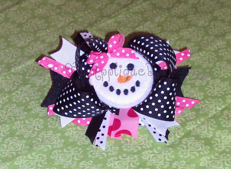 Christmas Winter Snowman Face Hair Bow Center Embroidery image 0