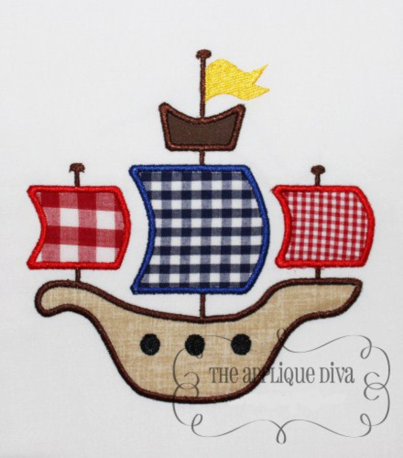 Pirate Ship Embroidery Design Machine Applique image 0