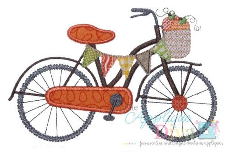 Fall Pumpkin Bike Digital Embroidery Design Machine Applique image 0