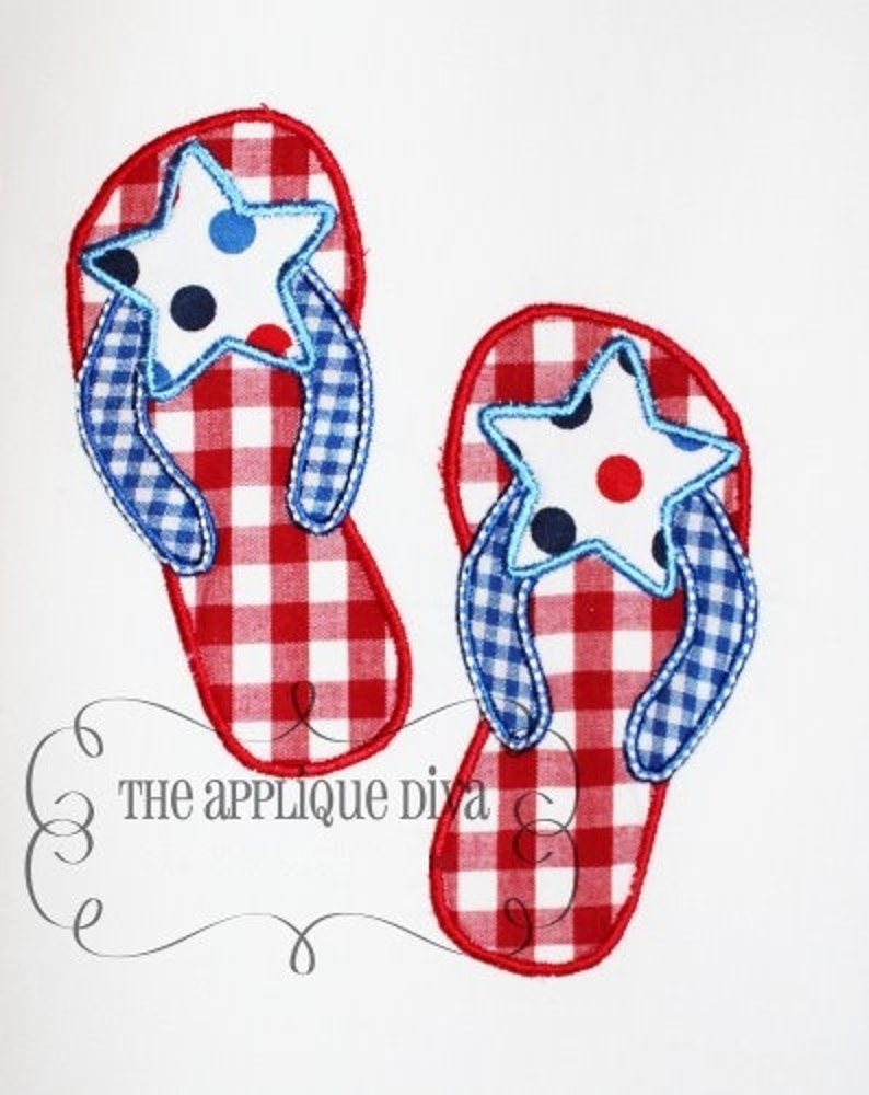 a0d0e19cac4 4th of July Flip flops Embroidery Design Applique