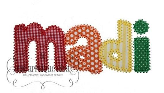 Madison font embroidery design machine applique letters etsy
