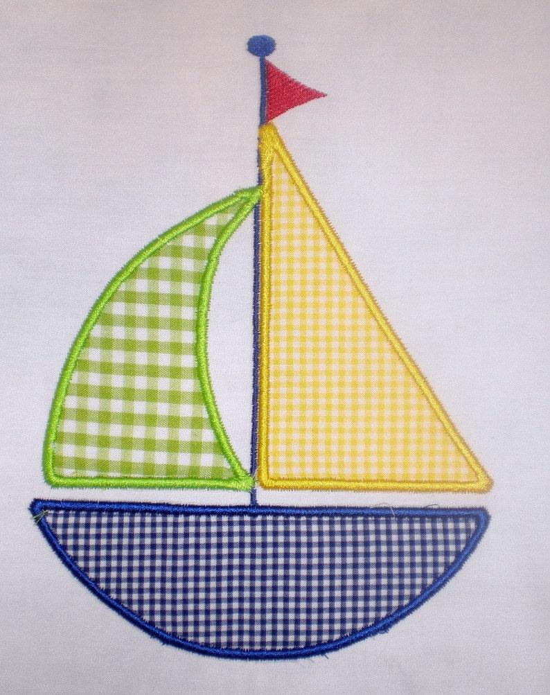 Sailboat Embroidery Design Applique image 0