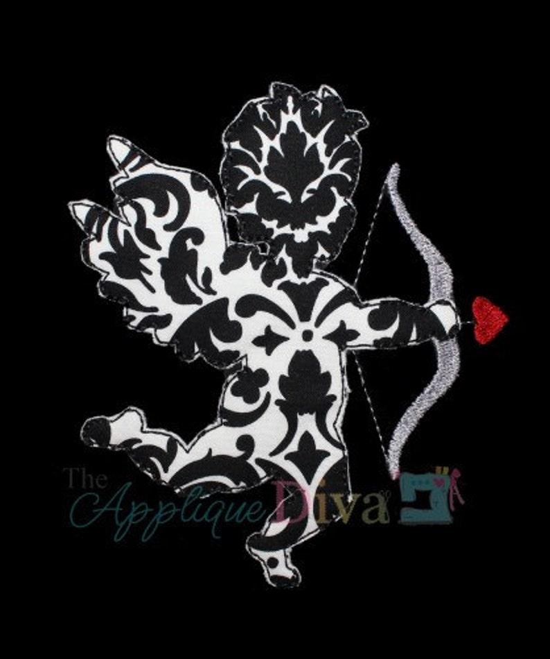 Valentine's Day Raw Edge Cupid  Digital Embroidery Design image 0