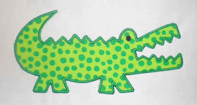 Alligator Machine Embroidery Design Applique image 0