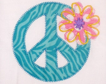 Peace Sign with Flower Embroidery Design Machine Applique