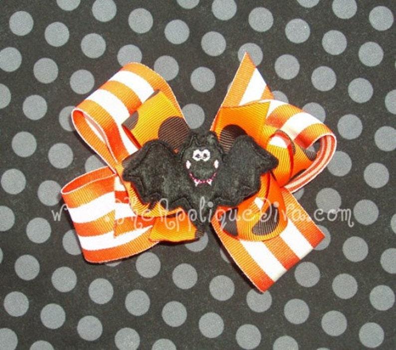 Halloween Girl Bat Hair Bow Center Embroidery Design Machine image 0
